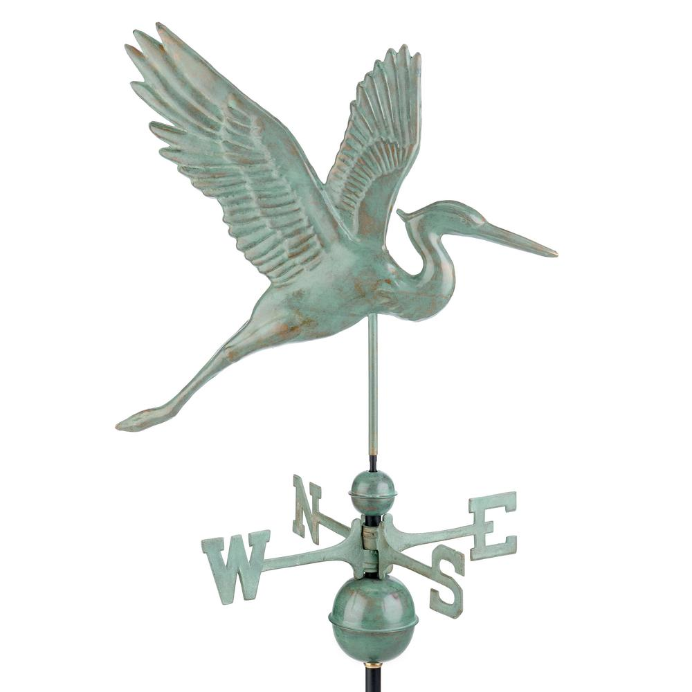 Graceful Blue Heron Weathervane - Blue Verde Copper