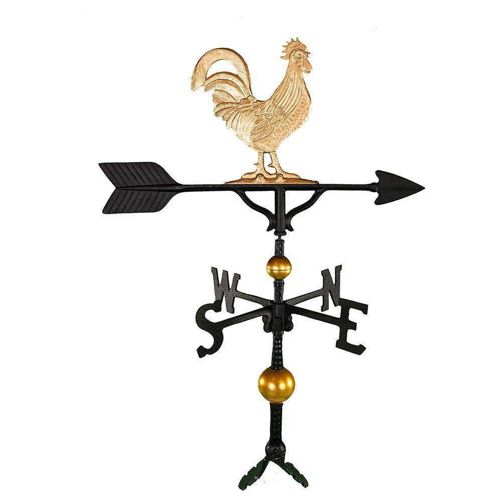 32 in. Deluxe Gold Rooster Weathervane