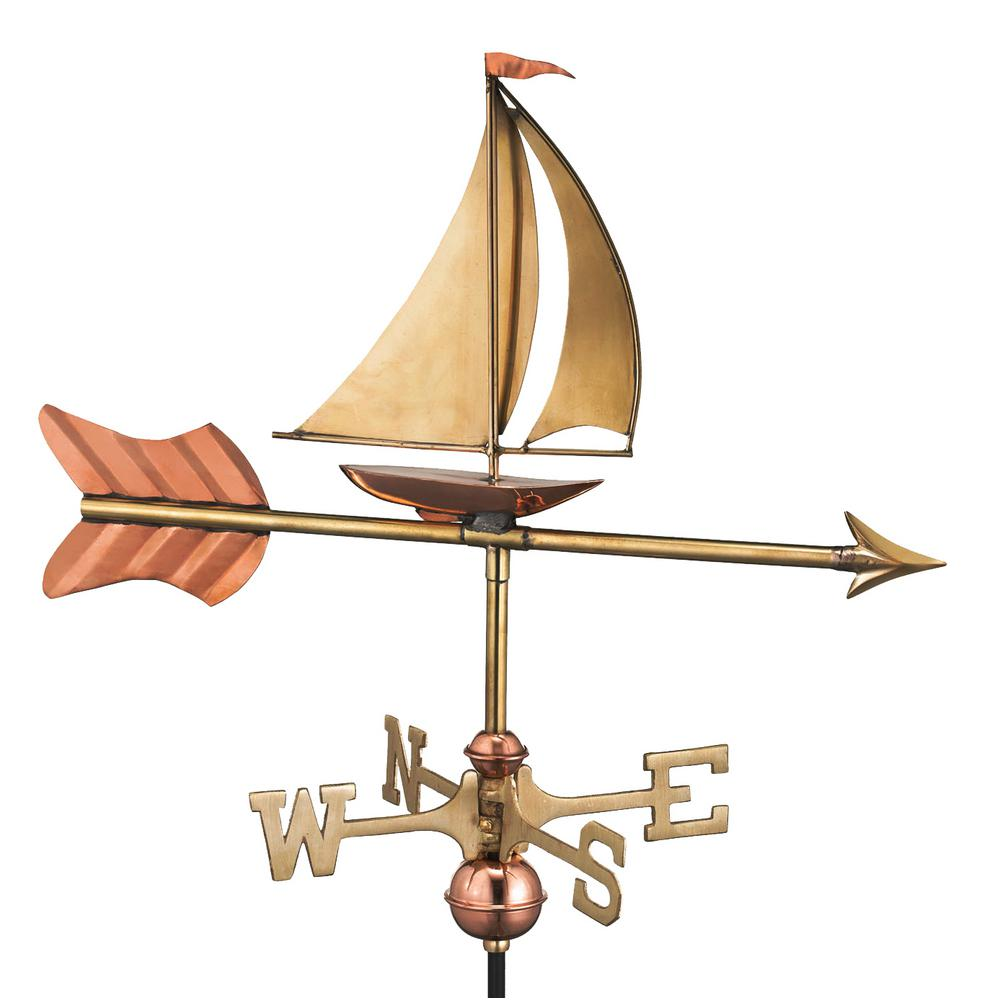 Sailboat Cottage Weathervane - Pure Copper with Roof Mount