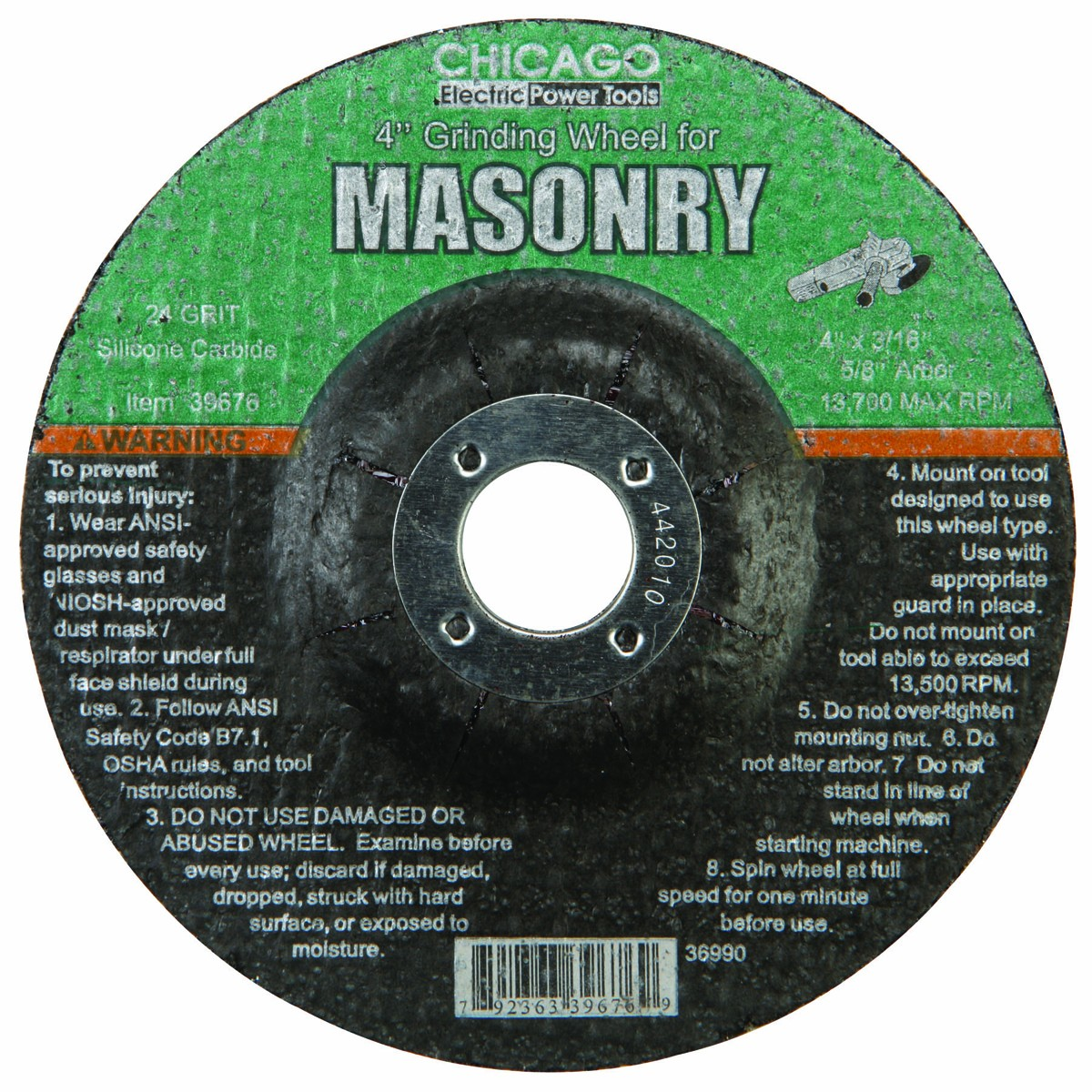 4 in. 24 Grit Masonry Grinding Wheel
